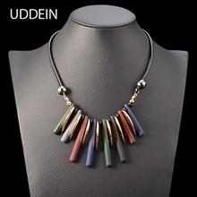 UDDEIN double layer black leather chain geometric acrylic gem choker necklace pendants vintage statement necklace for women