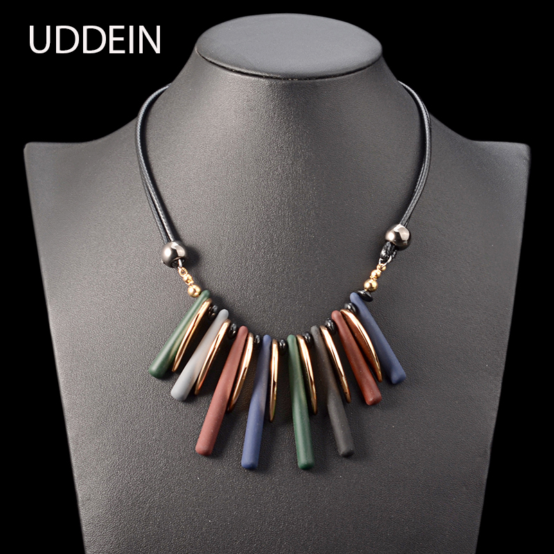 UDDEIN double layer black leather chain geometric acrylic gem choker necklace pendants vintage statement necklace for women chic multilayered coin geometric necklace for women