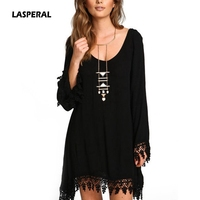 LASPERAL 2017 New Women Casual Loose Long Sleeve Tassel Black Party Dress Vestidos Summer Boho Beach