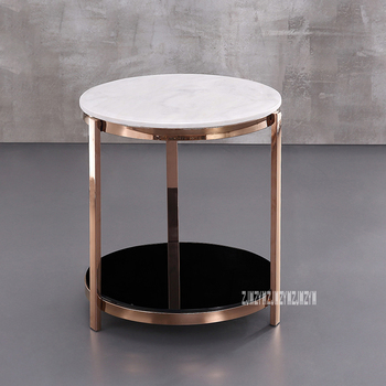 Modern Luxury Marble Top Tea Table Simple Living Room Bedroom Corner Sofa Side Small Round Coffee Table Stainless Steel Rack