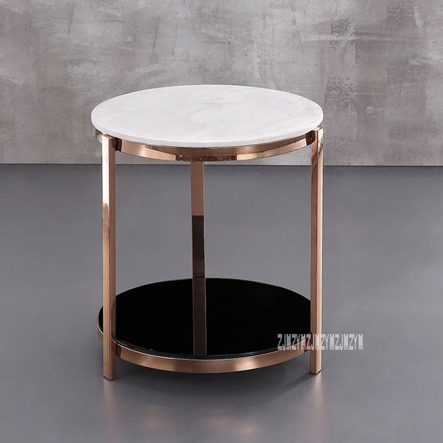 Incredible Modern Luxury Marble Top Tea Table Simple Living Room Bedroom Corner Sofa Side Small Round Coffee Table Stainless Steel Rack Gmtry Best Dining Table And Chair Ideas Images Gmtryco