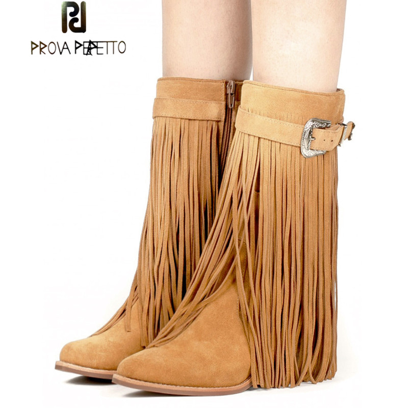 Prova Perfetto Fashion All Tassels Round Toe High Heel Martin Boots Warm Suede Leather Buckle Side Zipper Chunky Heels Mid Boots womens high boots vogue side zipper botas invierno mujer fashion buckle block chunky heel sapatos mulher suede size us 4 10 5