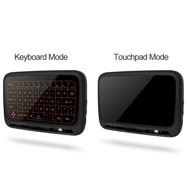 H18 + 2.4 GHz sans fil Mini clavier plein Touchpad rétro-éclairage clavier grande tablette tactile télécommande pour Smart TV Android TV Box