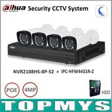 Dahua Full HD Ip-kamera nvr Kit NVR2108HS-8P-S2 Motorisierte Zoom Kamera IPC-HFW4431R-Z P2P Home security Surveillance System