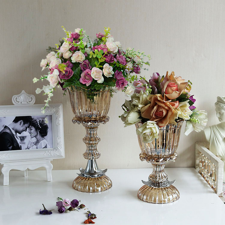 alto grado de pie jarrn de vidrio floral arreglo floral mesa americana decoracin suave decoracin