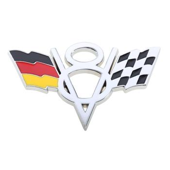 Metal V8 Emblems Badges Logos With Germany Flag