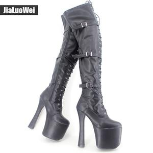 Jialuowei 20CM ultra High Heel chunky heels platform Zip Buckle boots Women Dance Party Over Knee fetish Thigh High Shoes