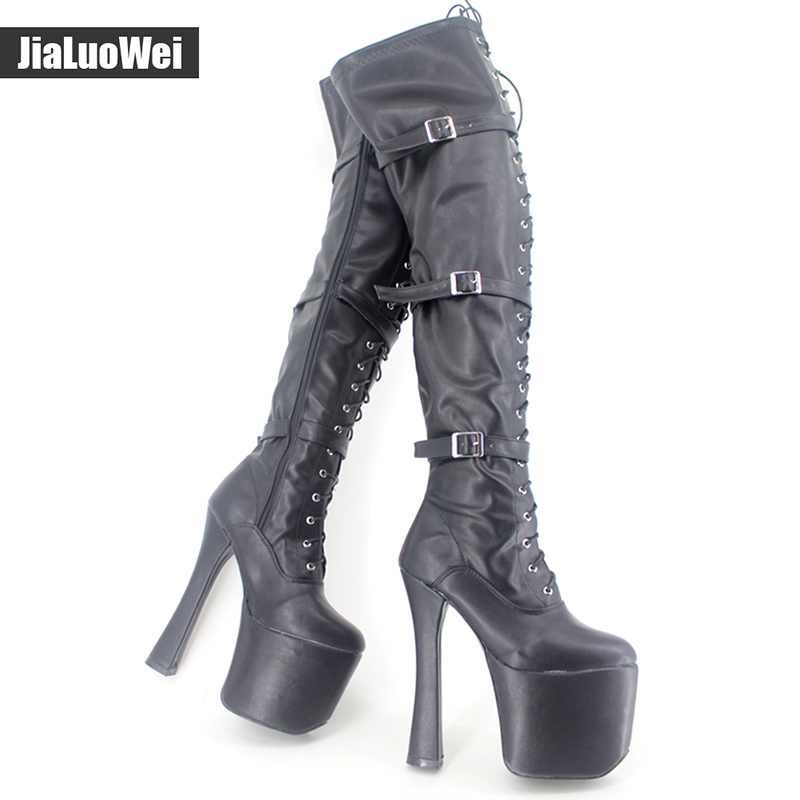 Jialuowei 20CM ultra High Heel chunky heels platform Zip Buckle boots Women Dance Party Over Knee fetish Thigh High Shoes jialuowei 20cm ultra high heel chunky heels platform zip buckle boots women dance party over knee fetish thigh high shoes