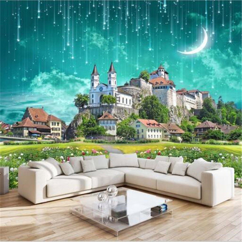 custom 3d wallpaper fantasy castle meteor shower bedroom living room TV background wall expansion space large mural wallpaper book knowledge power channel creative 3d large mural wallpaper 3d bedroom living room tv backdrop painting wallpaper