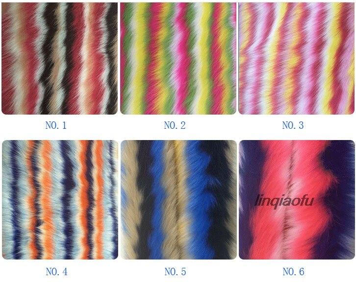 Tissu en peluche jacquard à quatre couleurs imitation fourrure arc-en-ciel de haute qualité
