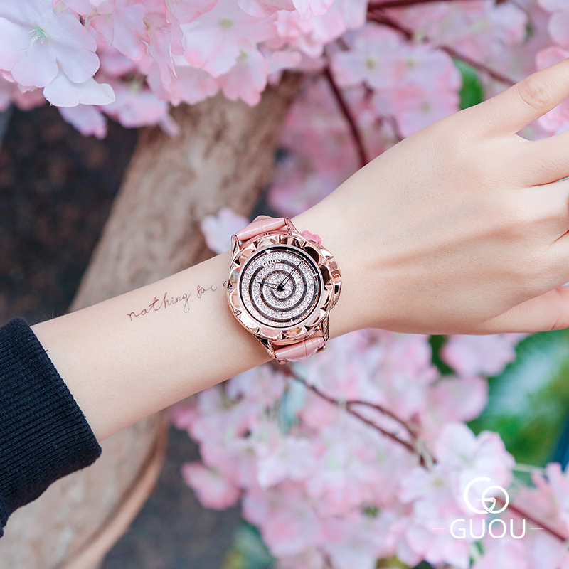 GUOU Watch New Fashion Spiral Dial Quartz Women Watches Top Luxury Exquisite Leather Women Watch Clock saat relogio feminino new top brand guou women watches luxury rhinestone ladies quartz watch casual fashion leather strap wristwatch relogio feminino