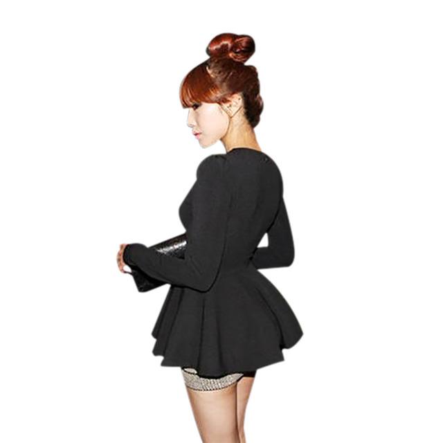 2015 Cinco Cores New Coréia V neck Blusa Manga Longa Baforada Peplums camisas Das Mulheres Plus Size Verão Vestido de Slim Fit Bonito Guarda-chuva