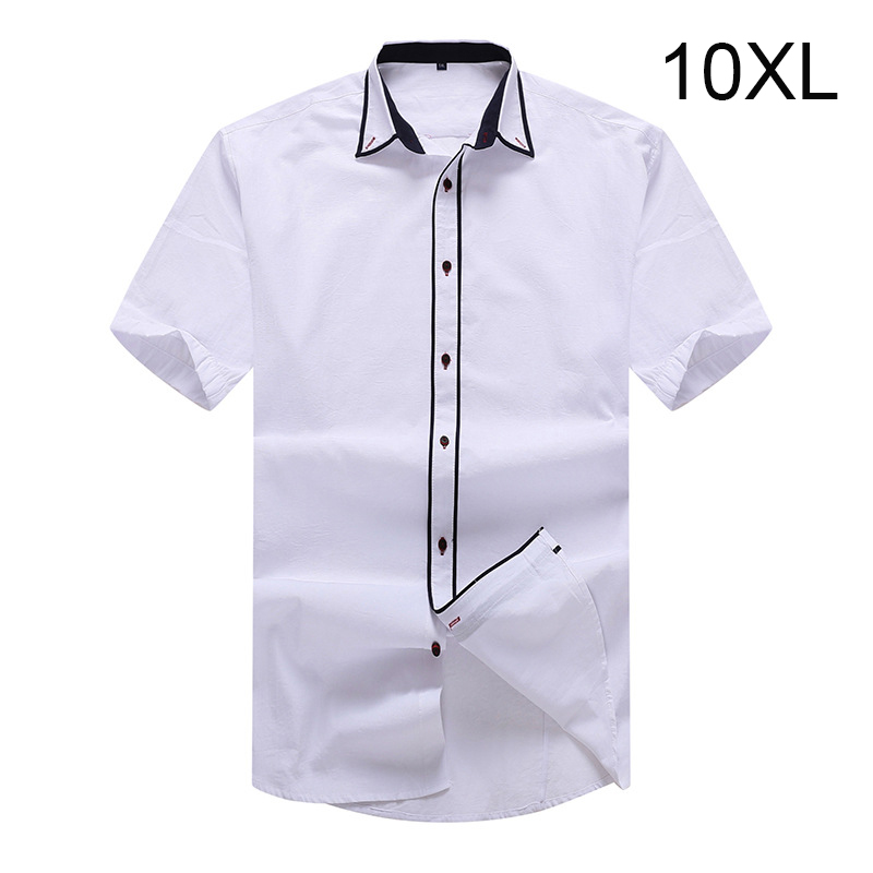 Plus size 10XL 8XL 6XL 5XL Mens Summer Business Shirt Short Sleeves Turn-down Collar Tuxedo Shirt Shirt Men Shirts Big Size ...