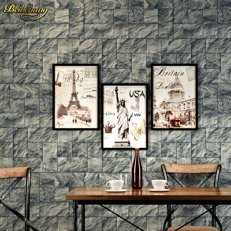 beibehang papel de parede Mediterranean stone brick pattern nonwoven 3D stereoscopic bedroom living room TV background wallpaper beibehang vertical striped embroidery diamond in the mediterranean bedroom living room wallpaper tv wall papel de parede