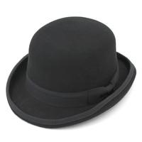 Mistdawn Vintage Style Men Gentleman Women Ladies 100% Wool Fedora Cap Crushable Bowler Derby Caps Dad Hat Billycock Groom Hats