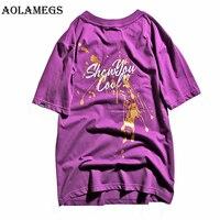 Aolamegs T Gömlek Erkekler Sıçramak Boya erkek Tişörtlerin O-Boyun T Gömlek Pamuk Casual Streetwear T Shirt Çift Yaz Moda Tees