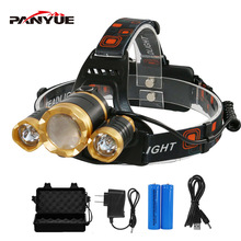PANYUE RJ6000 6000LM 4 Modes XML 3*T6 LED Headlight Headlight Rechargeable Flashlight Torch Waterproof Zoomable LED Headlamp panyue camping hiking adjustable 3 modes led headlamp super bright xml t6 1000 lumens rechargeable waterproof led headlight