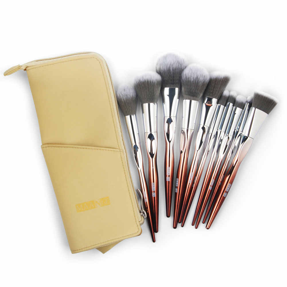 Newest 10Pcs Eyeshadow Contour Foundation Blending Makeup Brushes Set + Storage Pouch Makeup brush Private Labal