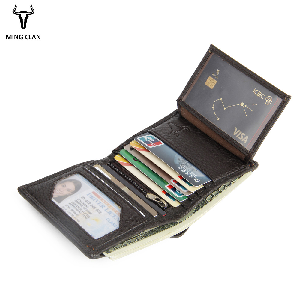 Mingclan Wallet Men Genuine Leather Trifold Small Wallet Card Holder Mini Credit Card Purse Zipper Coin Pocket Male Slim Wallets williampolo genuine leather men design slim thin mini wallet male small purse credit card short coin ultrathin wallet pl250
