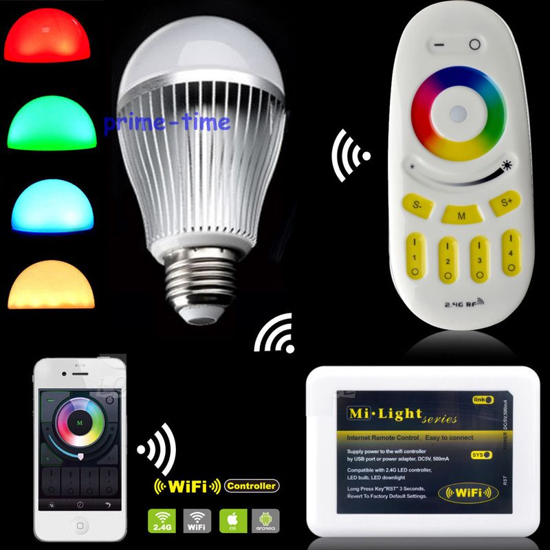 Milight 2.4G E27 9W RGBW RGBWW RGB+Cool/Warm White Full Color LED Bulb + 4-Zone RF Remote Controller + Wifi Controller 100% new and original xgf pd1h ls lg plc special module positioning module
