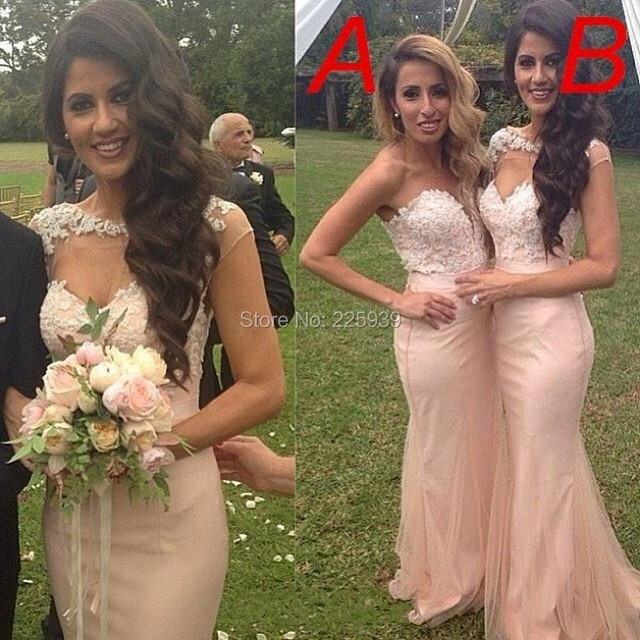dfad102ca63ac Formal Beautiful Appliques Lace Top Full Length Mermaid Long Elegant Blush  Pink Bridesmaid Dresses Fashion For Wedding Party