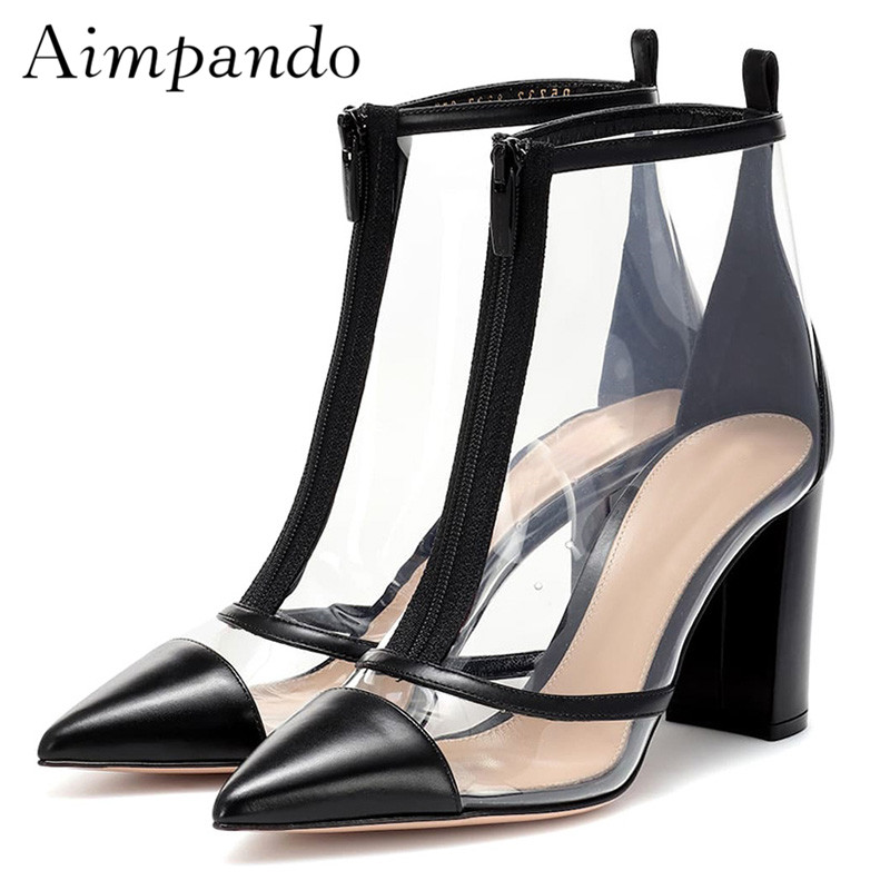 2019 Sexy Transparent PVC Ankle Boots Woman Pointed Toe Front Zipper Patchwork High Heel Shoes Women