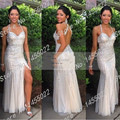 2015 de Moda de Nova Sereia Champagne Prom Vestidos Side Slit Backless Luxo Frisada de Cristal Longos Vestidos de Noite Vestidos de Strass