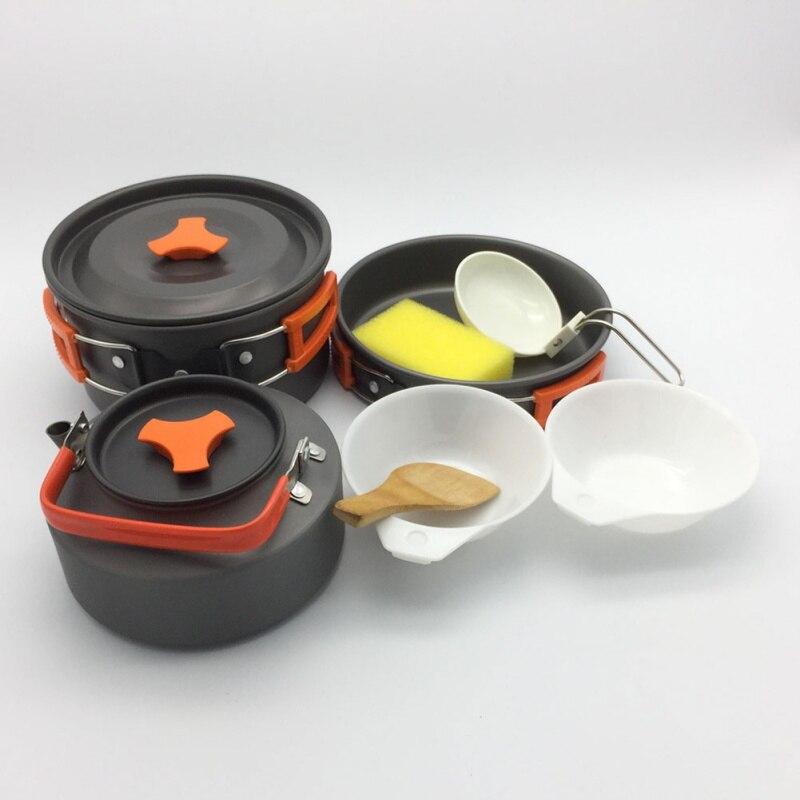 2-3 personnes 8 pièces de Camping Avec Vaisselle Bouilloire Pack Pique-Nique En Plein Air Pot Combinaison