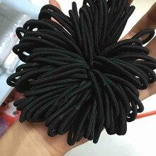 100 шт женские эластичные Галстуки для волос тесьма веревки кольцо конский хвост держатель аксессуары черный F719