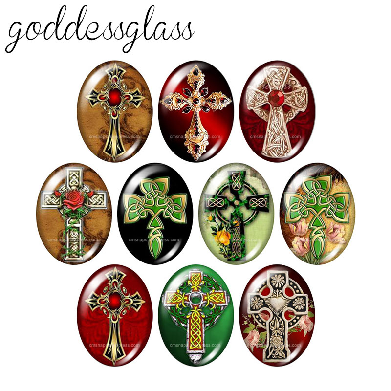 New Christian Cross Blessed 10pcs 13x18mm/18x25mm/30x40mm Oval Photo Glass Cabochon Demo Flat Back Making Findings TB0042