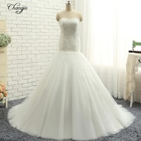 New Sexy Mermaid Wedding Dresses 2018 Strapless Sleeveless Court Train Beading Tulle Lace Up Back Wedding Gowns Robe de mariee