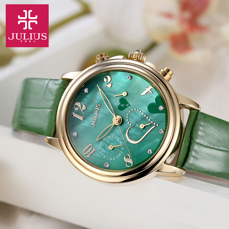 Real Functions Julius Women's Watch ISA Quartz Mother of Pearl Hours Fashion Clock Leather Girl's Birthday Christmas Gift Box algebras of continuous functions