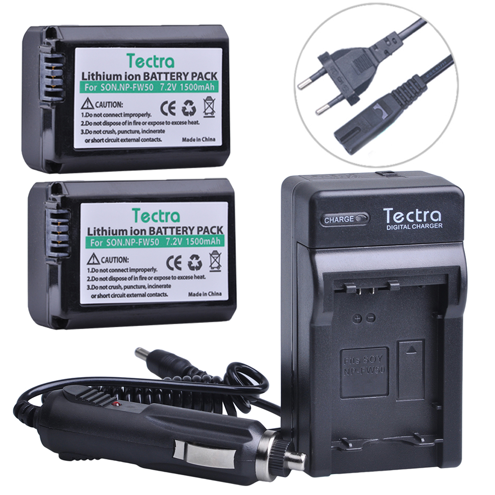 Tectra 2Pcs NP FW50 NPFW50 Batteries Digital Wall Charger for Sony Alpha a7 a7 II a7R