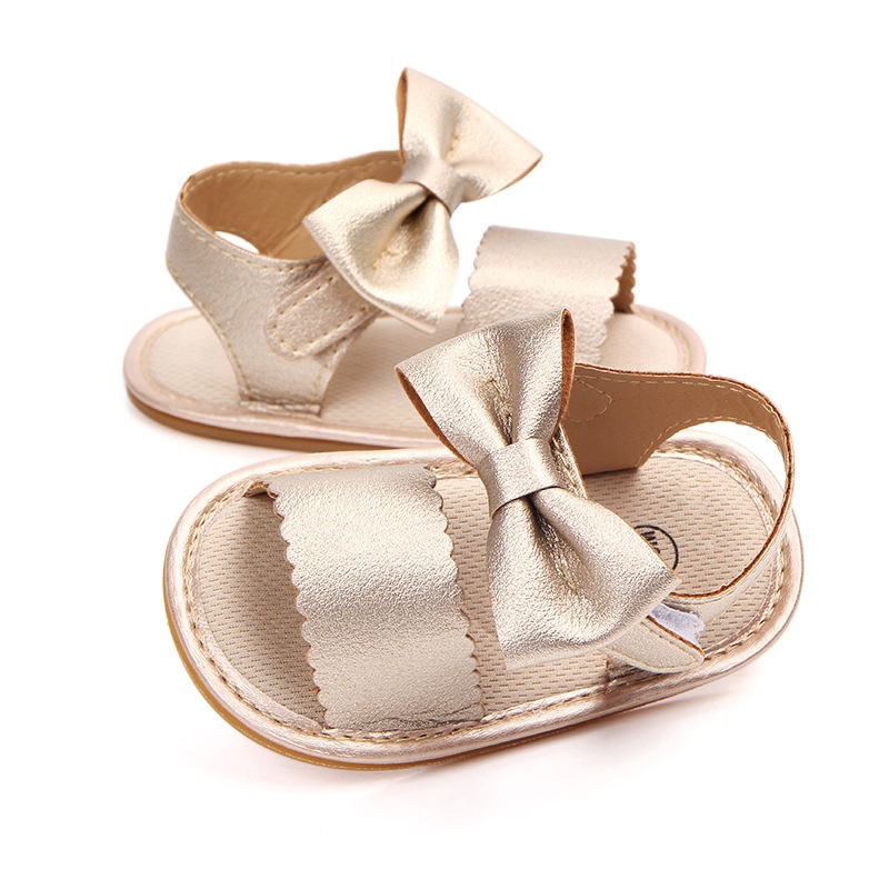 Baby Cute Sandals Newborn Baby Girl Bow Tie Sandals Summer Baby Shoes Casual Fashion Sandals Girls PU Baby Sandals