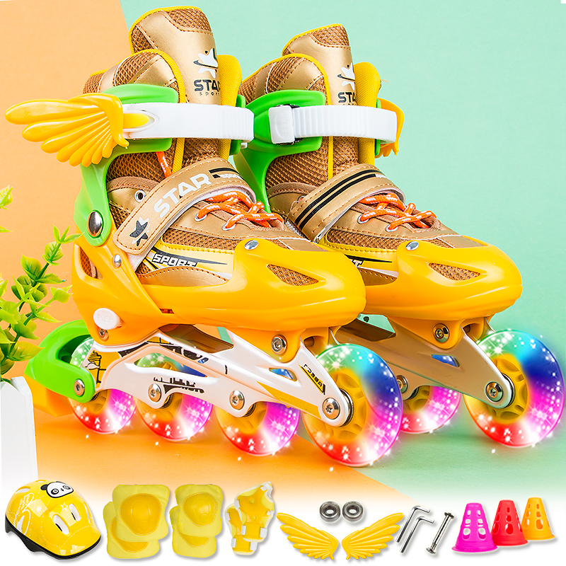 Nouveau garçon fille enfants patins à roues alignées taille réglable clignotant bottes de patinage à roulettes pour les enfants