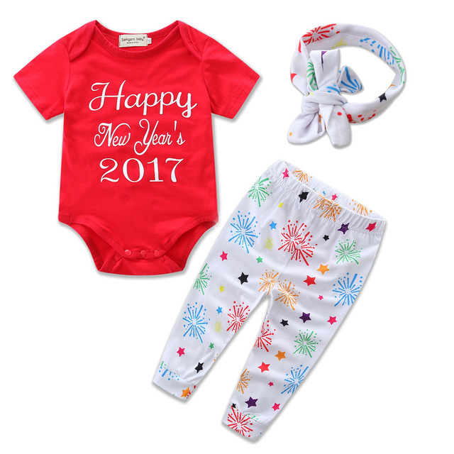 2017 Happy New Year Newborn Baby Clothes Short Sleeve Romper Bodysuit Pant Headband 3PCS Set Outfit Clothing Children Suit H481