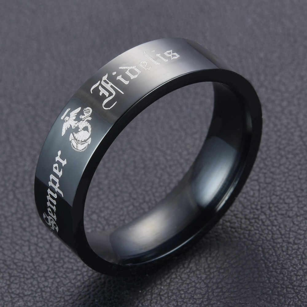 Semper Fidelis Mans Fashion Punk Cincin Surat hitam Latin Marinir Rings Stainless Steel Cincin Kualitas Tinggi