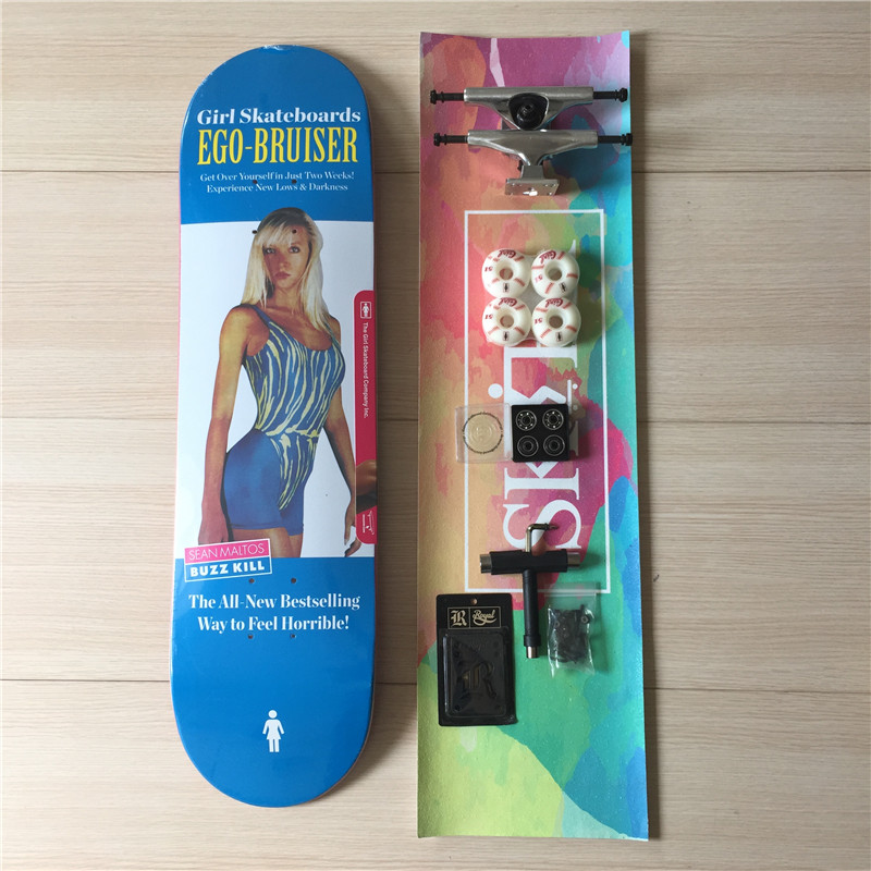 GIRL Skateboard Deck Blank Trucks & Wheels Element ABEC-3 Bearings Skate Complete Set Plus Skateboard Accessories 50mm 53mm 101a chocolate skateboard wheels made by high density pu 4 wheels for skate trucks parts to set up for the board