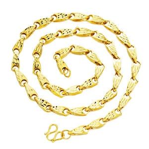 Image 2 - リアルネックレス男性のためのメロンの種子デザイン 100% 24 18k ゴールド中空縁石リンクチェーンネックレス 2018 ファインジュエリーコリアー送料無料