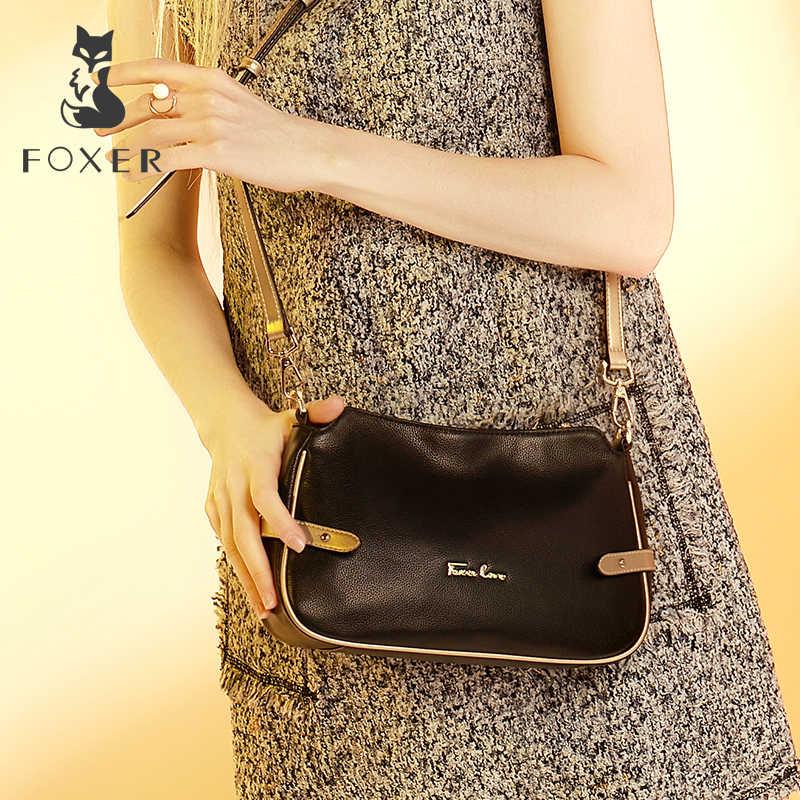 FOXER marka kadın hakiki deri çapraz askılı çanta ve omuz çantaları kadın askılı çanta kadın moda küçük çanta