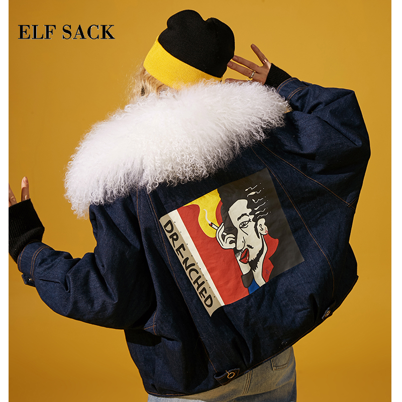 ELF SACK New Warm Woman Thick Coat Cotton Casual Patchwork Denim Femme Jackets Long Sleeve Zipper
