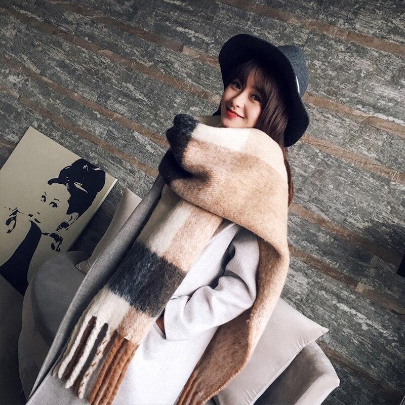 Mingjiebihuo nuevo coreano moda bufanda de mujer otoño e invierno nuevo color mezclado salvaje cálido grueso con flecos bufanda