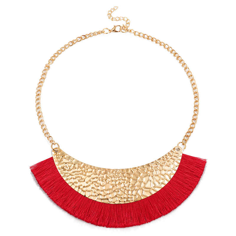 2019 NEW fashion necklace collar Gold Chain Necklaces & Pendants trendy choker chunky metal chain statement tassel necklace