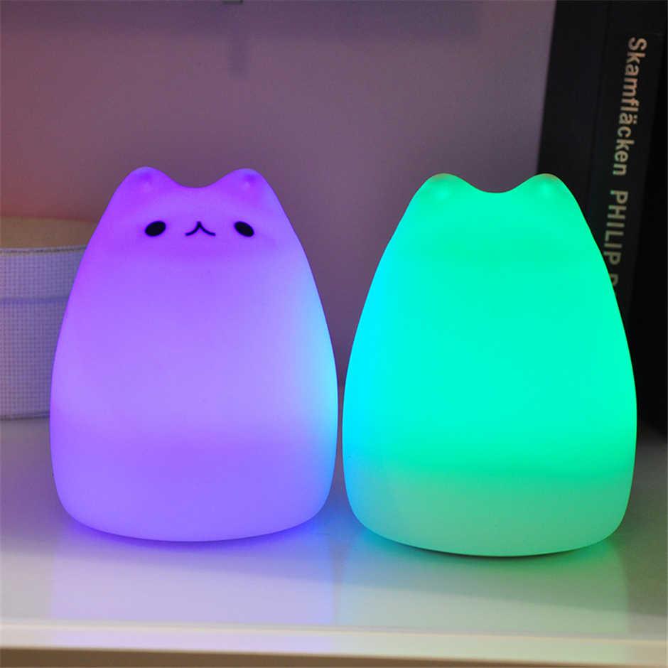USB Перезаряжаемый СВЕТОДИОДНЫЙ Красочный ночной Светильник с изображением животных, котов Стиль Силиконовый мягкий дыхание мультфильм детские ясли лампа для Детский подарок