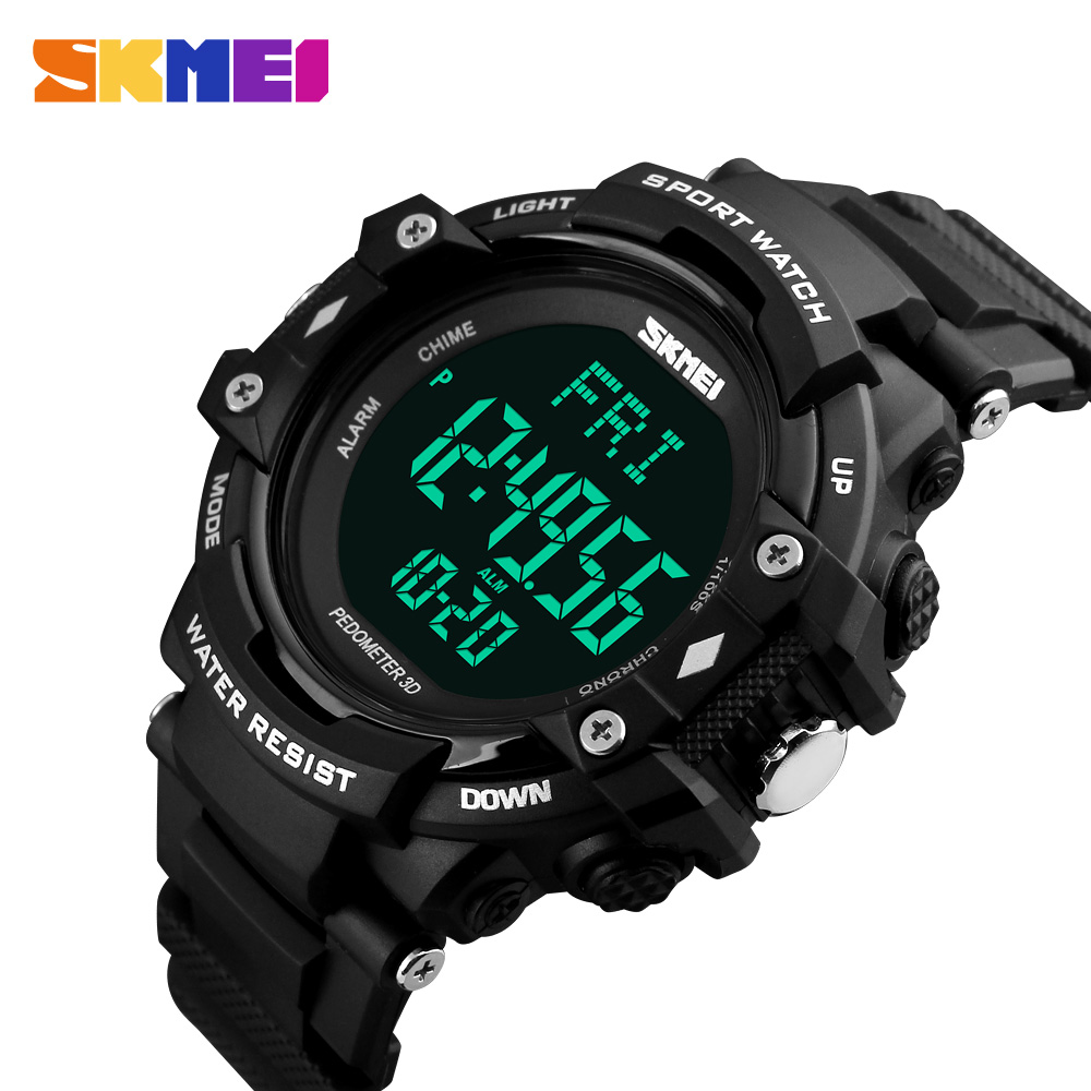 SKMEI Luxury Brand Men 3D Pedometer HeartRate Monitor Calories Digital Display Watch Outdoor Sports Watches Relogio Masculino pedometer heart rate monitor calories counter led digital sports watch skmei fitness for men women outdoor military wristwatches