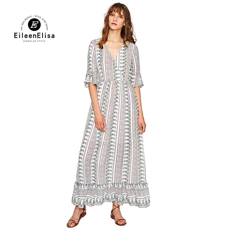 Eileen Elisa Women Runway Dresses 2017 Elegant Floral Print Long Dress Flare Sleeve