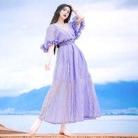 2017 Весной И Летом Новый Фиолетовый Цвет Шифон Макси женщин Сексуальный Глубокий V-образным Вырезом Половина Рукава Vintage Dress Ladies Beach Dress
