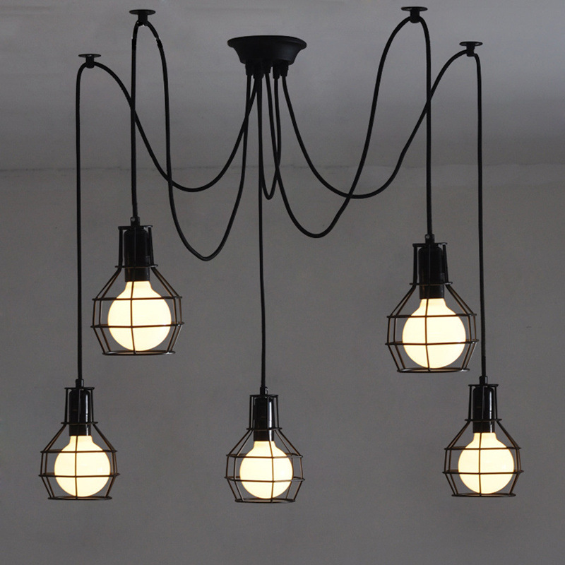 NEW Vintage Iron Pendant Light Industrial Loft Retro Droplight Bar Cafe Bedroom Restaurant American Country Style Hanging Lamp loft vintage american stretch pendant light fixture cafe bar droplight aisle hall ceiling lamp bedroom dining balcony lighting
