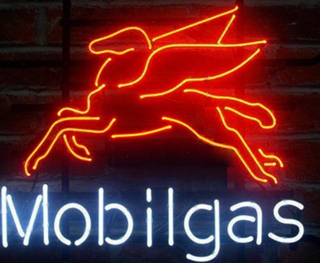 Mobil Glass Neon Light Sign Beer Bar