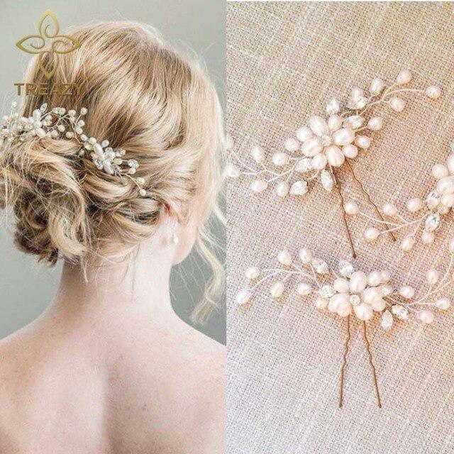 treazy 2pcs elegant bridal wedding crystal pearl flower hair pins charm handmade bridesmaid bridal veil jewelry
